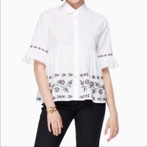 Kate Spade White Embroidered Ruffled Sleeve Top xs